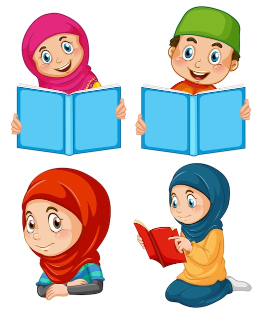 Um conjunto de pessoas muçulmanas Vetor grátis