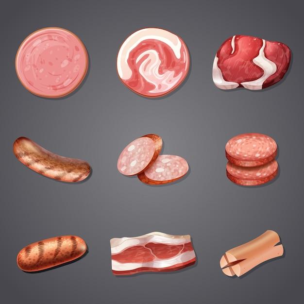 Um conjunto de produtos de carne mix Vetor Premium