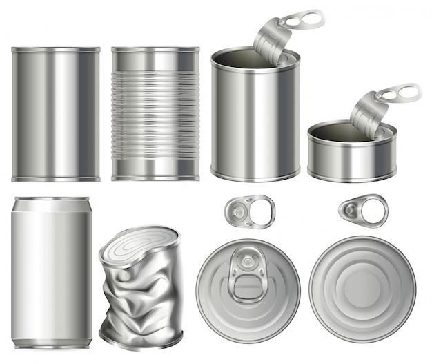 Um conjunto de recipiente de latas Vetor Premium