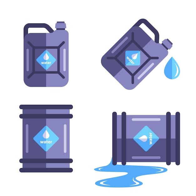 Um conjunto de recipientes para um conjunto de água. derramar água no barril. ilustração plana isolada no fundo branco. Vetor Premium