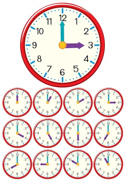 Um conjunto de relógio e tempo Vetor Premium