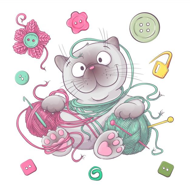 Um conjunto de roupas de malha clew agulhas de tricô. desenho à mão Vetor Premium