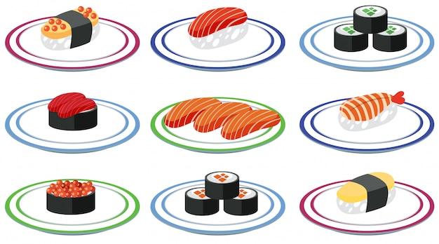 Um conjunto de sushi no prato Vetor grátis