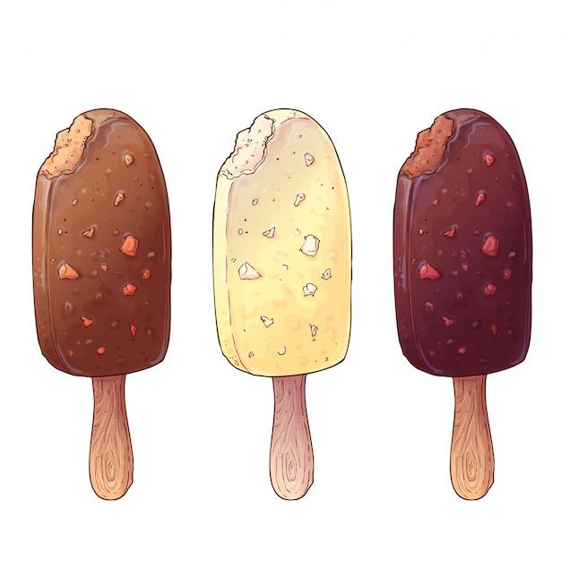 Um conjunto de três tipos de sorvete Vetor Premium