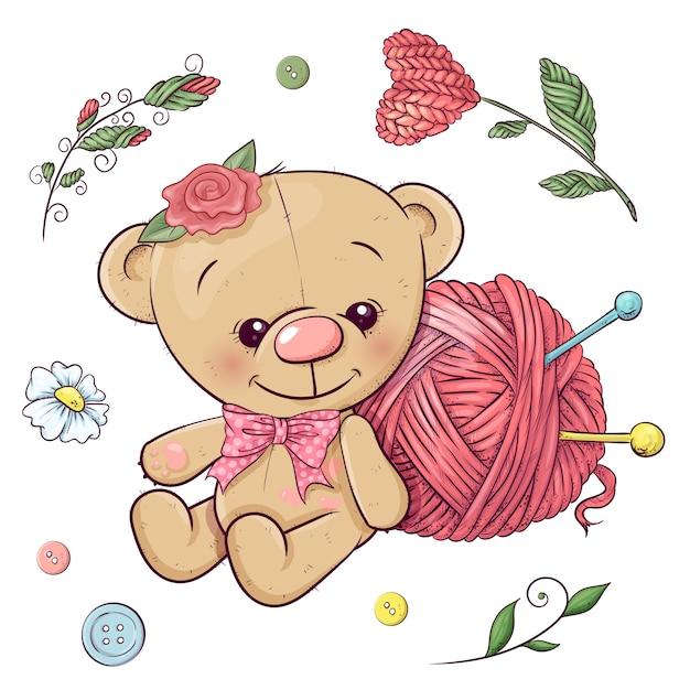 Um conjunto de ursinho de pelúcia e fios para tricô. desenho à mão. ilustração vetorial Vetor Premium