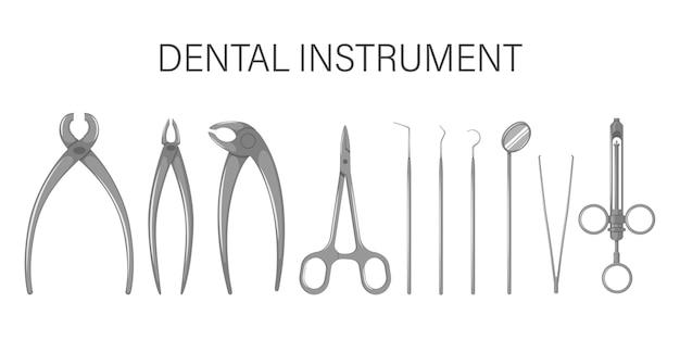Um conjunto de utensílios odontológicos. isolado em um fundo branco. Vetor Premium