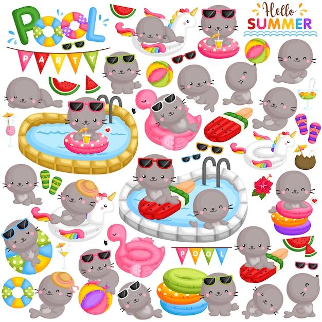 Um conjunto de vetores de giros pequenos selos jogando e festejando na piscina na temporada de verão Vetor Premium