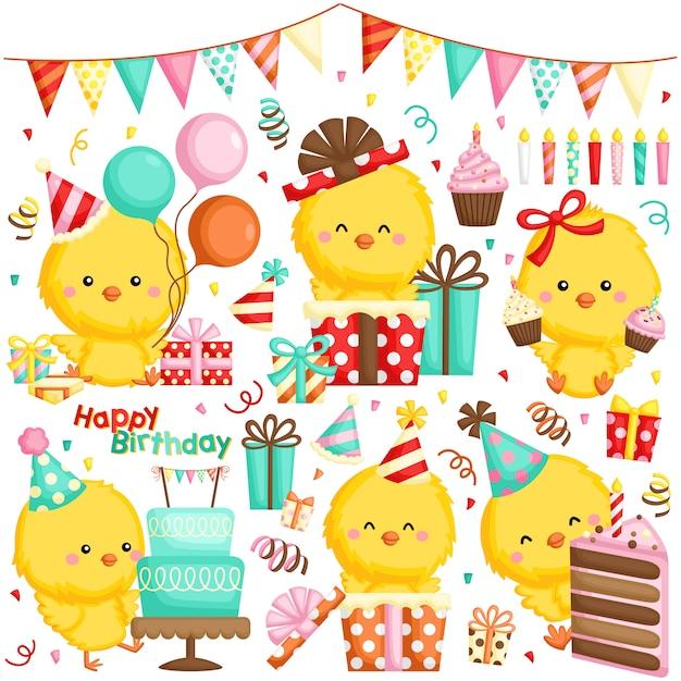 Um conjunto de vetores de várias galinhas comemorando aniversário com bolos e muitos presentes Vetor Premium