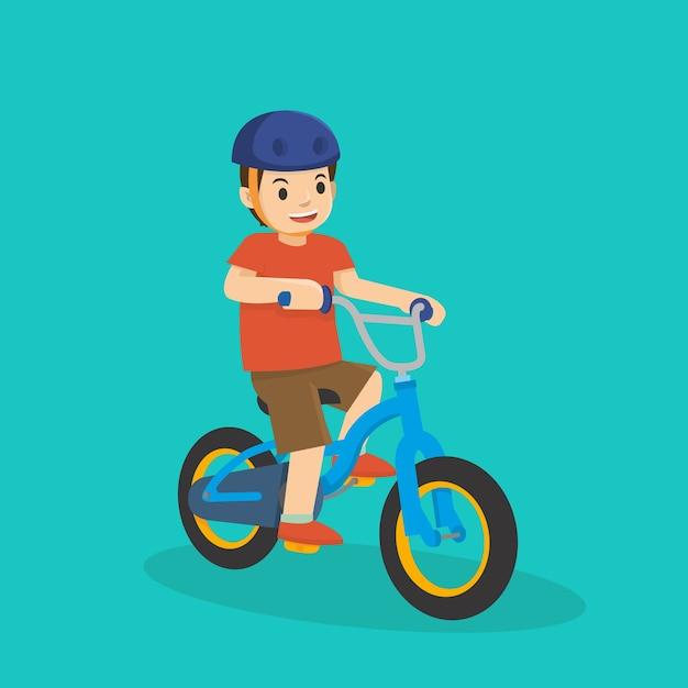 Um, criança jovem, montando uma bicicleta Vetor Premium