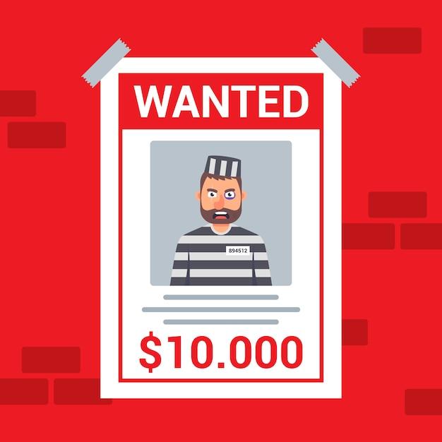 Um criminoso procurado é procurado. recompensa pela captura de um bandido. Vetor Premium
