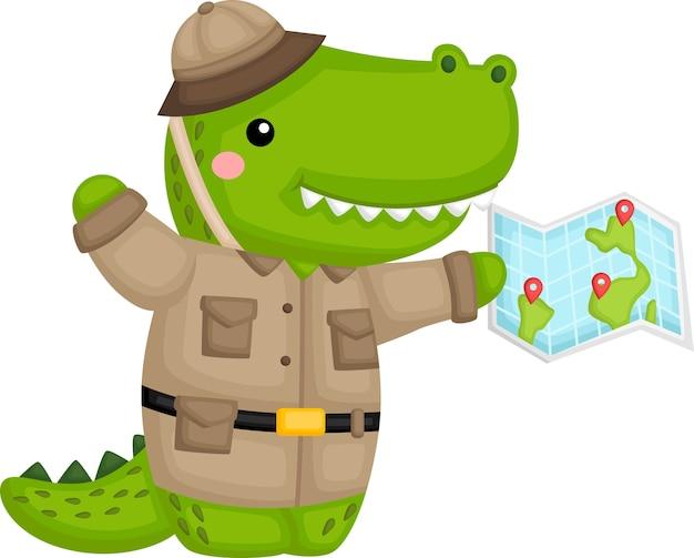 Um crocodilo fofo em traje de ranger de safári Vetor grátis