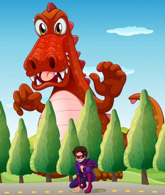 Um crocodilo gigante assustador e um super-herói Vetor grátis
