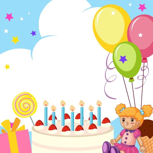 Um, cute, cartão aniversário Vetor grátis