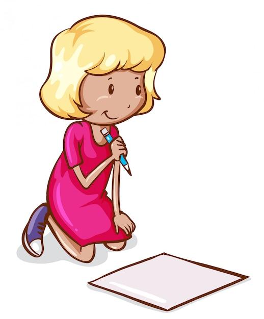 Um Desenho Colorido De Uma Menina Lendo E Escrevendo Vetor Gratis