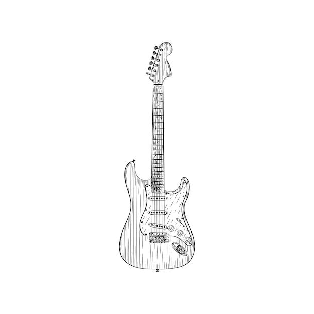 Um Desenho De Vetor De Ilustracao De Guitarra Eletrica Vetor Premium