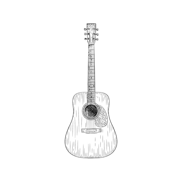Um desenho de vetor de ilustração de guitarra Vetor Premium