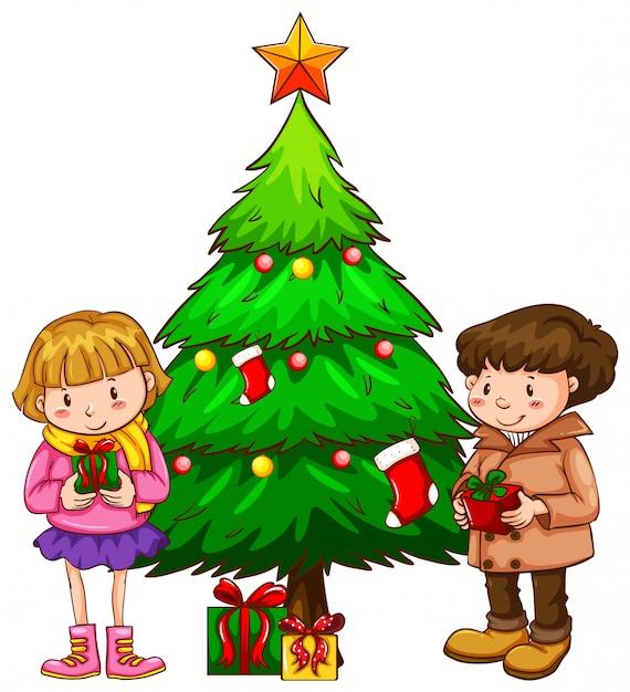 Um desenho simples das crianças perto da árvore de natal Vetor grátis