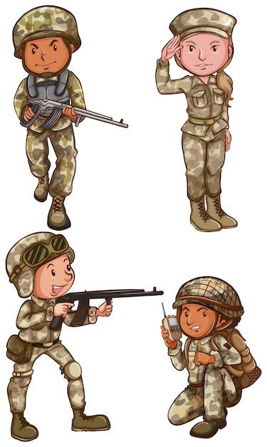 um desenho simples dos quatro valentes soldados em um fundo branco