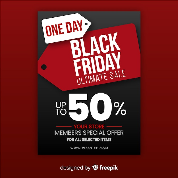 Um dia de desconto sexta-feira negra Vetor Premium