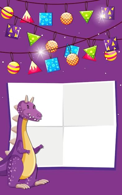 Um dinossauro no fundo de aniversário com copyspace Vetor grátis