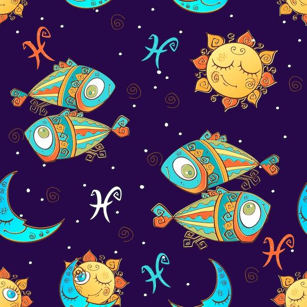 Um divertido padrão sem emenda para as crianças. signo do zodíaco peixes. Vetor Premium