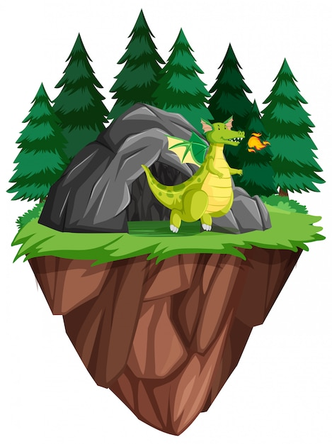 Um dragão vive na caverna Vetor grátis