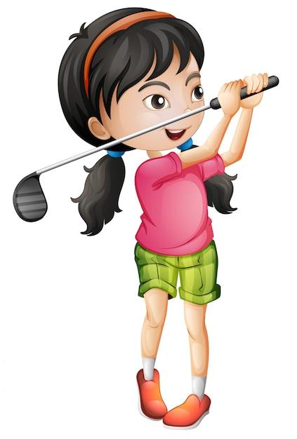Um, femininas, golfer, personagem Vetor grátis
