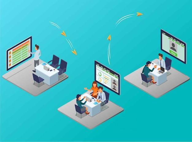 Um fluxo de processo de recrutamento de funcionários por uma ilustração isométrica de gerente de rh Vetor Premium