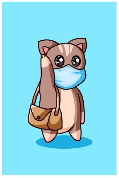 Um gatinho usando máscara e carregando uma bolsa Vetor Premium
