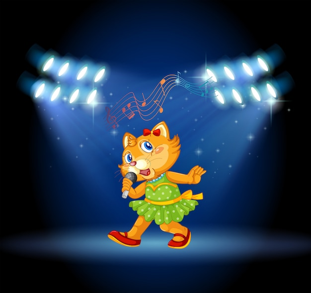 Um gato cantando no palco Vetor grátis