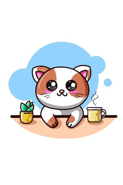Um gato feliz com café e planta ornamental desenho animado kawaii Vetor Premium