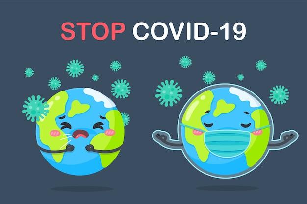Um globo de desenho animado usando uma máscara o conceito de quarentena em casa para prevenir o coronavírus. Vetor Premium