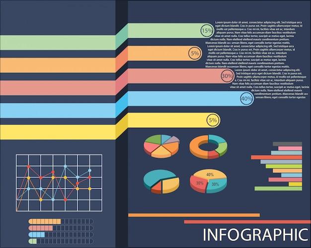 Um gráfico mostrando gráficos de pizza e de linha Vetor grátis