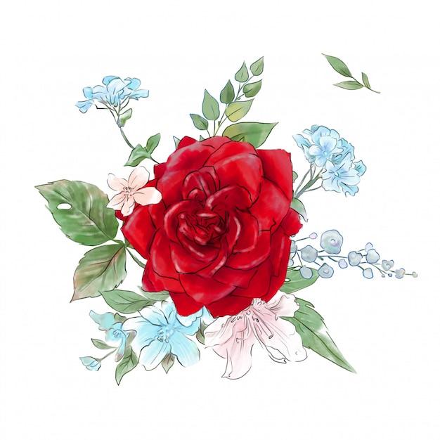 Um grande conjunto de aquarelas oferece rosas de super qualidade. Vetor Premium
