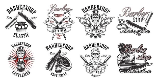 Um grande conjunto de ilustrações em estilo vintage para uma barbearia com uma caveira Vetor Premium