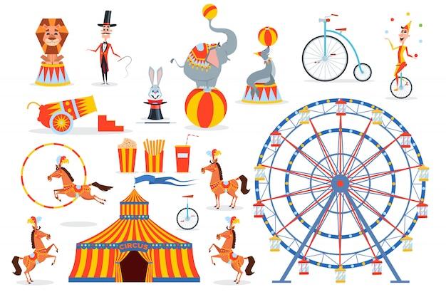 Um grande conjunto de personagens e objetos de circo Vetor Premium