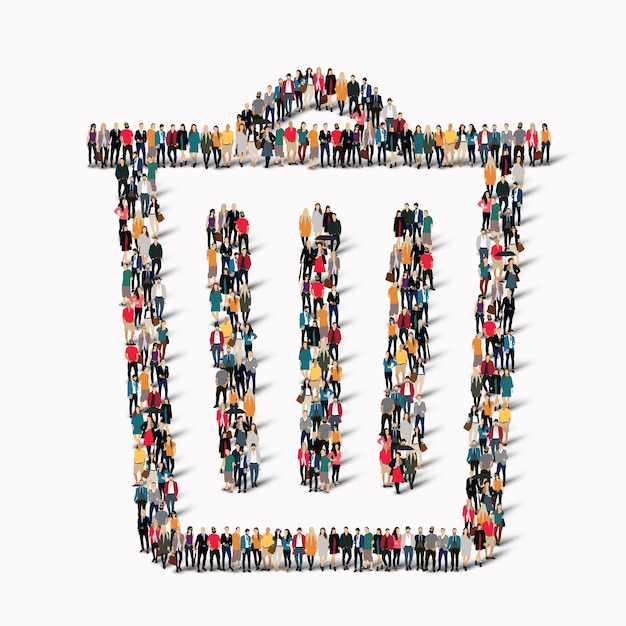 Um grande grupo de pessoas em forma de lata de lixo. . Vetor Premium