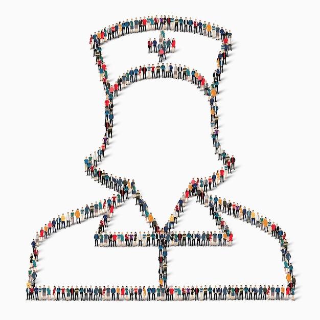 Um grande grupo de pessoas na forma de uma enfermeira, um remédio, um ícone. Vetor Premium