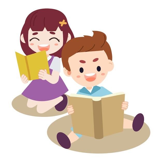 Um grupo de crianças lendo o livro. criança fazendo um dever de casa. menino e menina lendo o livro. Vetor Premium