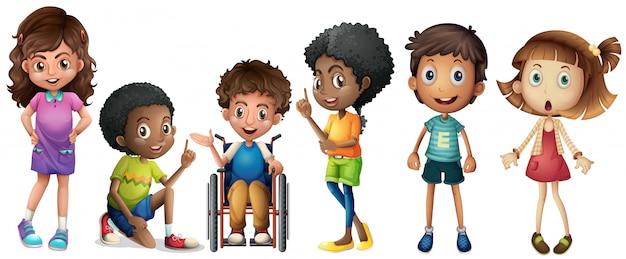 Um grupo de crianças Vetor grátis