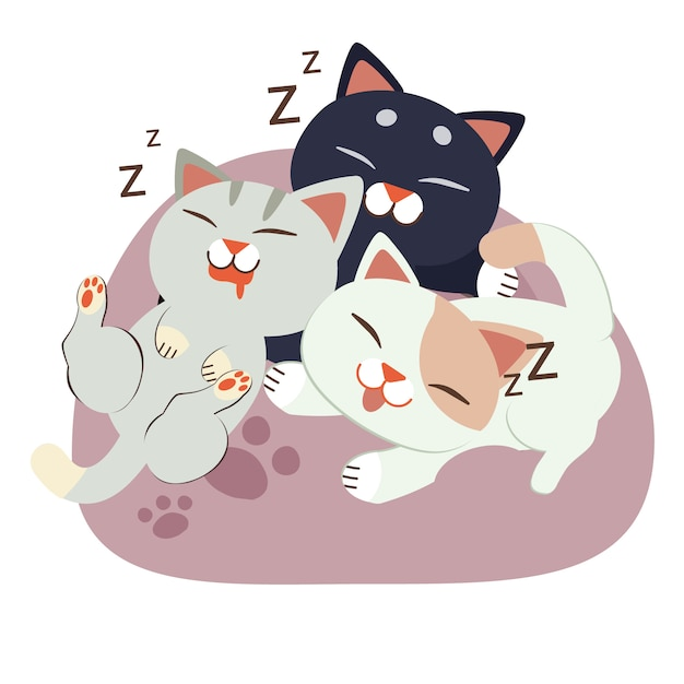 Um, grupo, de, cute, personagem, gato, dormir, ligado, a, beanbag Vetor Premium