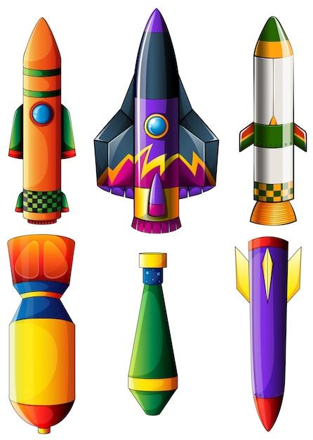 Um grupo de foguetes coloridos Vetor grátis