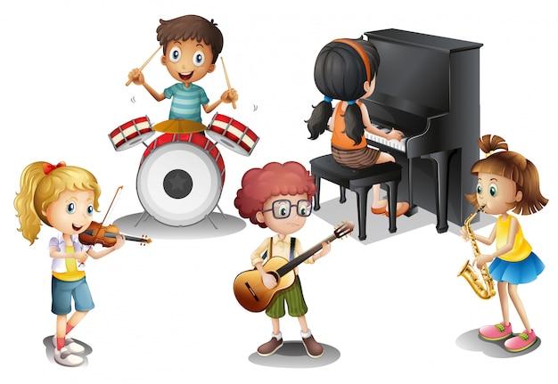Um grupo de garotos talentosos Vetor grátis