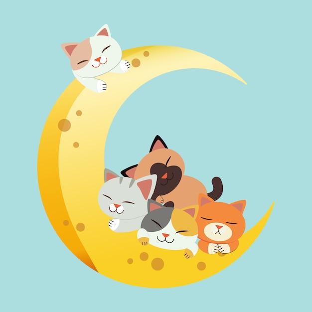Um grupo de gato bonito agarrar a lua e dormir Vetor Premium