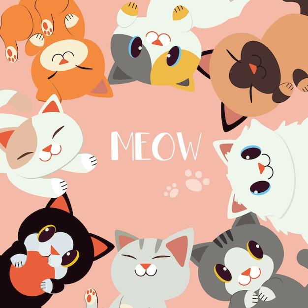 Um grupo de gato feliz sentar em um círculo. Vetor Premium