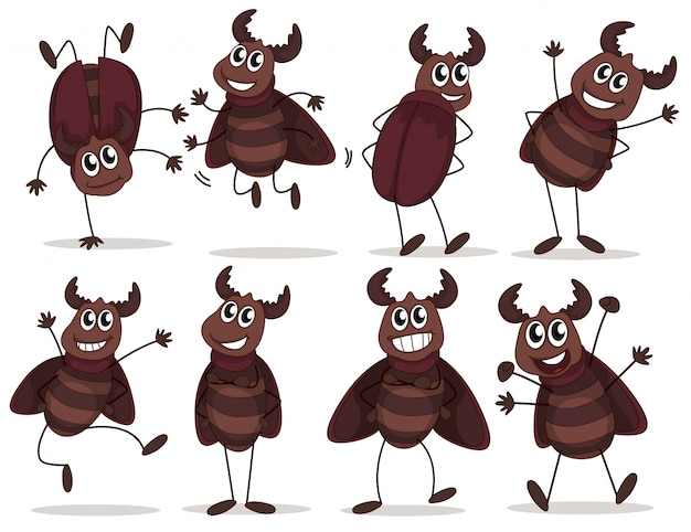 Um grupo de insetos sorridentes Vetor grátis