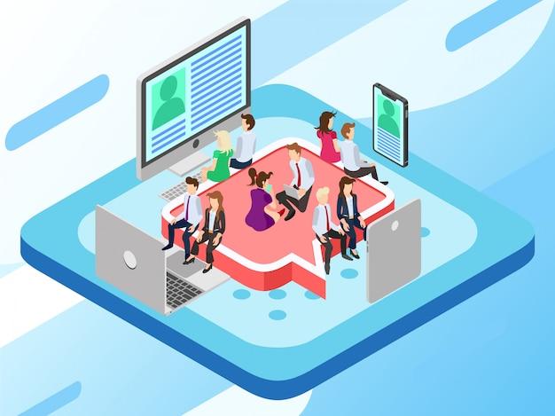 Um grupo de negócios sentado em um assento e assistindo a uma notícia viral Vetor Premium