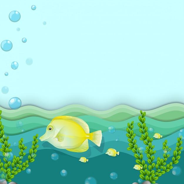 Um grupo de peixes amarelos no fundo do mar Vetor grátis
