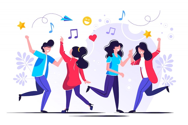 Um grupo de pessoas dançando e se divertindo ao som da música Vetor Premium