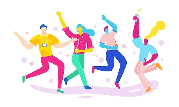 Um grupo de pessoas juntos dançando, se divertindo e festejando Vetor Premium